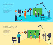 Filmmaking Process 2 Flat Horizontal Banners. Filmmaking movie scene shooting 2 flat horizontal banners set with director cameraman and assistant isolated vector Royalty Free Stock Photo