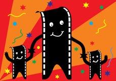 Filmmann und -familie mit Party Lizenzfreie Stockbilder