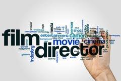 Filmregisseurwort-Wolkenkonzept auf grauem Hintergrund Stockfotografie