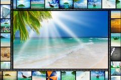 Filmremsa med härliga feriebilder Royaltyfri Foto