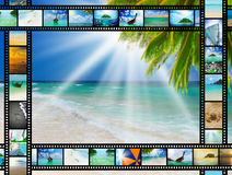 Filmremsa med härliga feriebilder Arkivbild