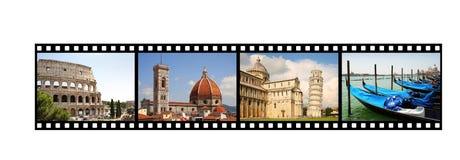Filmremsa med italienska bilder Arkivfoto