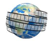Filmremsa och jordklot vektor illustrationer