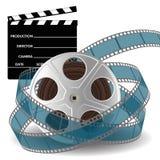 Filmrolle und Kinoklatschen Stockbilder
