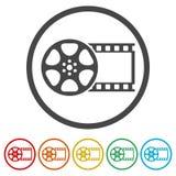 Filmrolleikone, die Videoikone, Filmsymbol, flach, 6 Farben eingeschlossen lizenzfreie abbildung