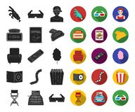 Films and cinema black,flat icons in set collection for design.Movies and Attributes vector symbol stock web. Films and cinema black,flat icons in set collection royalty free illustration