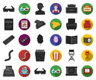 Films and cinema black,flat icons in set collection for design.Movies and Attributes vector symbol stock web. Films and cinema black,flat icons in set collection vector illustration