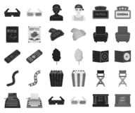 Films and cinema black,monochrome icons in set collection for design.Movies and Attributes vector symbol stock web. Films and cinema black,monochrome icons in stock illustration