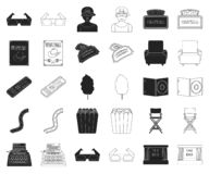 Films and cinema black,outline icons in set collection for design.Movies and Attributes vector symbol stock web. Films and cinema black,outline icons in set vector illustration