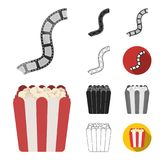 Films and cinema cartoon,black,flat,monochrome,outline icons in set collection for design.Movies and Attributes vector. Symbol stock  illustration Stock Photo