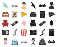 Films and cinema cartoon,black icons in set collection for design.Movies and Attributes vector symbol stock web. Films and cinema cartoon,black icons in set royalty free illustration