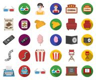 Films and cinema cartoon,flat icons in set collection for design.Movies and Attributes vector symbol stock web. Films and cinema cartoon,flat icons in set royalty free illustration