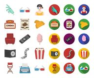 Films and cinema cartoon,flat icons in set collection for design.Movies and Attributes vector symbol stock web. Films and cinema cartoon,flat icons in set stock illustration