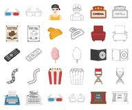 Films and cinema cartoon,outline icons in set collection for design.Movies and Attributes vector symbol stock web. Films and cinema cartoon,outline icons in set royalty free illustration