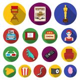 Films and cinema flat icons in set collection. For design.Movies and Attributes vector symbol stock  illustration Stock Photography