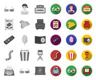 Films and cinema mono,flat icons in set collection for design.Movies and Attributes vector symbol stock web illustration. Films and cinema mono,flat icons in set royalty free illustration