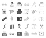 Films and cinema mono,outline icons in set collection for design.Movies and Attributes vector symbol stock web. Films and cinema mono,outline icons in set royalty free illustration