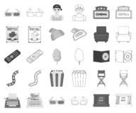 Films and cinema monochrome,outline icons in set collection for design.Movies and Attributes vector symbol stock web. Films and cinema monochrome,outline icons vector illustration