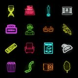 Films and cinema neon icons in set collection for design.Movies and Attributes vector symbol stock web illustration. Films and cinema neon icons in set stock illustration