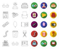 Films and cinema outline,flat icons in set collection for design.Movies and Attributes vector symbol stock web. Films and cinema outline,flat icons in set royalty free illustration