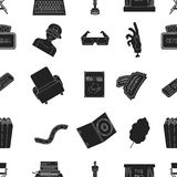 Films and cinema pattern icons in black style. Big collection of films and cinema vector symbol stock illustration. Films and cinema pattern icons in black style Stock Photos