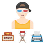 Films and cinema set collection icons in cartoon. Chair of the director, typewriter, cinematographic signboard, film-man. Films and cinema set collection icons Royalty Free Stock Photography