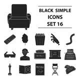 Films and cinema set icons in black style. Big collection of films and cinema vector symbol stock illustration Royalty Free Stock Photography