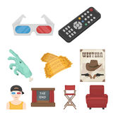 Films and cinema set icons in cartoon style. Big collection of films and cinema vector symbol stock illustration. Films and cinema set icons in cartoon style Royalty Free Stock Photography