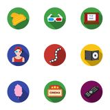 Films and cinema set icons in flat style. Big collection of films and cinema vector symbol Stock Photography