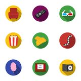 Films and cinema set icons in flat style. Big collection of films and cinema vector symbol Royalty Free Stock Photos