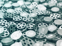 Films collection. Movie video reels background. Stock Images
