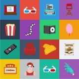 Films et icônes de bande dessinée de cinéma dans la collection d'ensemble pour la conception Les films et les attributs dirigent  illustration libre de droits
