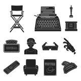 Films et icônes noires de cinéma dans la collection d'ensemble pour la conception Les films et les attributs dirigent l'illustrat illustration libre de droits