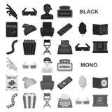 Films et icônes noires de cinéma dans la collection d'ensemble pour la conception Les films et les attributs dirigent l'illustrat illustration stock