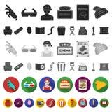 Films et icônes plates de cinéma dans la collection d'ensemble pour la conception Les films et les attributs dirigent l'illustrat illustration stock