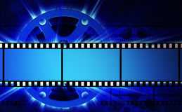 Films and film reel. With blue shine stock illustration