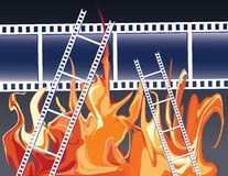 Films in fire Stock Image