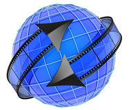Films orbiting around globe. Isolated on white Royalty Free Stock Photography