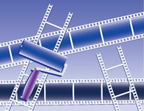 Films and paint roller Royalty Free Stock Images