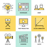 Films and post production flat icons. Flat line icons set of professional film production, movie shooting, studio showreel, actors casting, storyboard writing Stock Photos