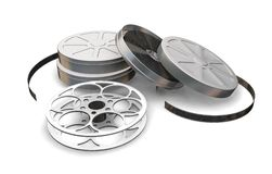 Films reels. 3D render of film reels and film cartons Royalty Free Stock Images
