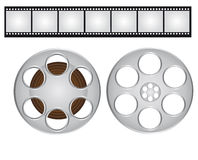 Films strip and video film. Gray and black films strip and video film isolated over white background. vector Royalty Free Stock Image