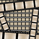 Films Strips Vector. Film strips background design with lots of empty frames.  This vector image is fully customizable Royalty Free Stock Photo