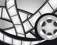 Films strips and video film. Gray and black films strips and video film background. vector Stock Photos