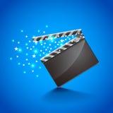 Filmscharnierventilbrett auf blauem Hintergrundvektor Lizenzfreies Stockbild