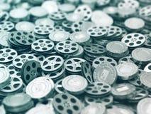 Filmsinzameling Achtergrond van film de videospoelen Stock Afbeeldingen