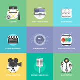 Filmskytte och plan symbolsuppsättning för produktion stock illustrationer