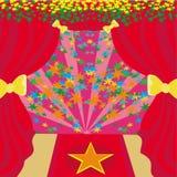 Filmstjärnasymbol på en röd matta som föreställer den Hollywood premiärministern royaltyfri illustrationer