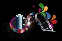Filmstreifen mit bunten Strudeln Stockbild