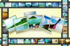 Filmstreifen mit schönen Feiertagsbildern Stockbilder